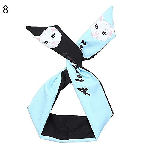 JYS365 Fashion Women's Cartoon Animal Print Wire Twist Cloth Headband Hair Band Scarf 8#