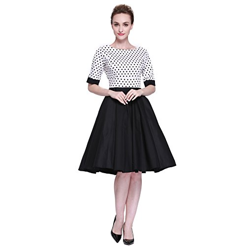 [Heroecol Womens Vintage 1950s Dresses Oblong Neck Short Sleeve 50s 60s Style Retro Swing Cotton Dress Size M Color White With Black Polka Dot Splice] (Iconic Womens Halloween Costumes)