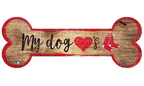 12x12 Bone (Fan Creations Boston Red Sox 6x12 Wood Sign (DOG LOVES RED SOX BONE))