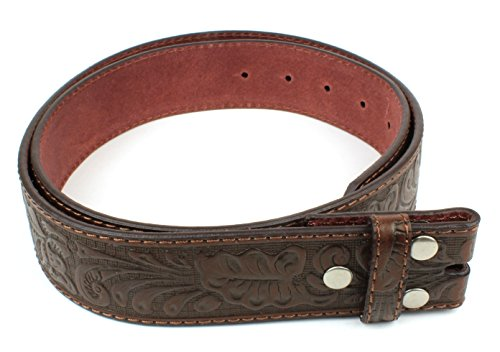 Leather Interchangeable Buckle - Leather Belt Strap with Embossed Western Scrollwork 1.5