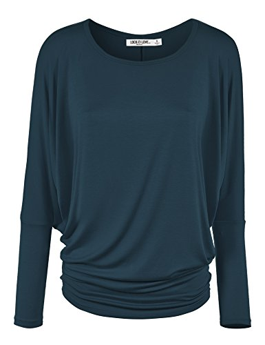 WT826 Womens Batwing Long Sleeve Top M Teal