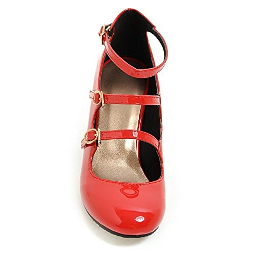 COOLCEPT Women Classic Strappy Court Shoes Block High Heels Ladies Mary Janes Pumps Red upBX1SoxA
