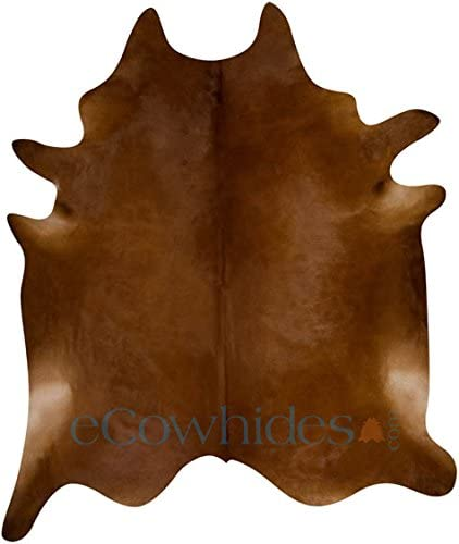 eCowhides Chocolae Brazilian Cowhide Area Rug, Cowskin Leather Hide for Home Living Room XL 7 x 6 ft