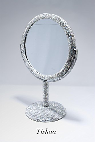TISHAA Luxury Cute Style Bling Bling Small White Crystal Diamond Studded Double Make Up Magnification Stand Mirror USA - Large Size by TISHAA