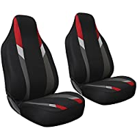 Oxgord 2pc Integrated Flat Cloth Bucket Seat Covers, Universal Fit for Car/Truck/Van/SUV, Red Black & Gray