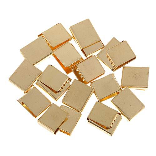 SM SunniMix 20 Pieces Brass Ribbon Clamp End Crimp Bracelet Bookmark Pinch Crimp End Finding - Gold