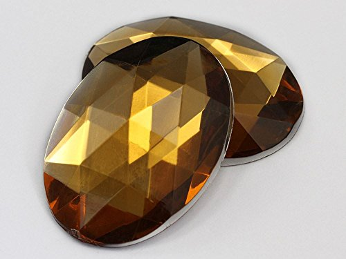 (40x30mm Flat Back Oval Acrylic Jewels Pro Grade - 4 Pieces (Brown Smokey Topaz H131))