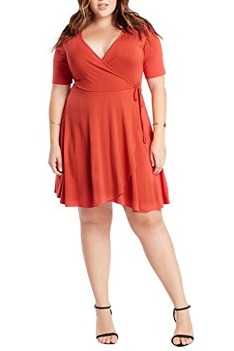 Poshsquare Women's V Neck Faux Wrap Classic Comfy Dress Plus Size USA Rust 1XL