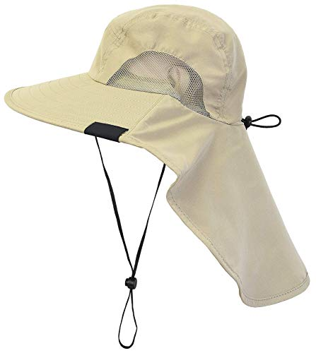 - Tirrinia Outdoor Sun Protection Fishing Cap with Neck Flap, Wide Brim Sun Hat for Travel Camping Hiking Hunting Boating Safari Cap with Adjustable Drawstring, Tan