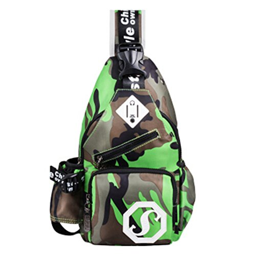 Unisex Außenschultertasche Chest Rucksack mit Camouflage, Grün