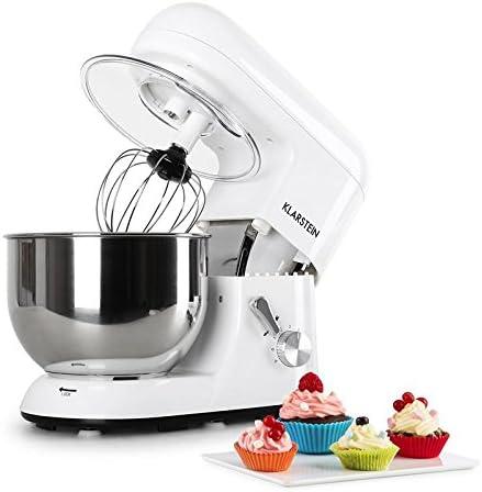 Klarstein Bella Blanco - Robot de cocina, Batidora, Amasadora, 1200 W, 5,2 litros, 1,6 PS, Batido planetario, 6 niveles de velocidad, Recipiente de acero inoxidable, Blanco: Amazon.es: Hogar