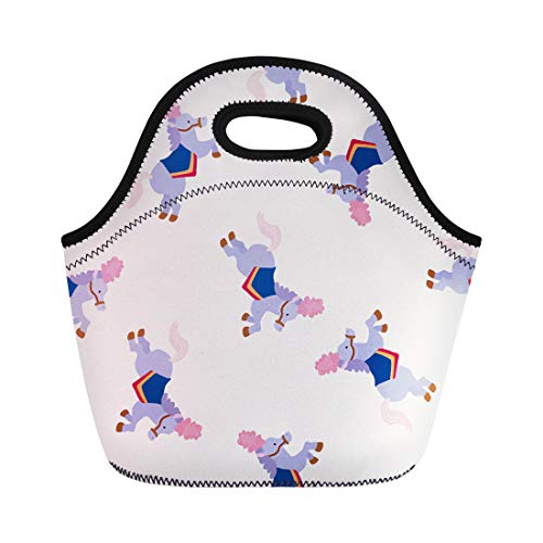 Semtomn Neoprene Lunch Tote Bag Cute Circus Animal Cartoon Adorable Ball Carnival Clown Collection Reusable Cooler Bags Insulated Thermal Picnic Handbag for Travel,School,Outdoors,Work ()