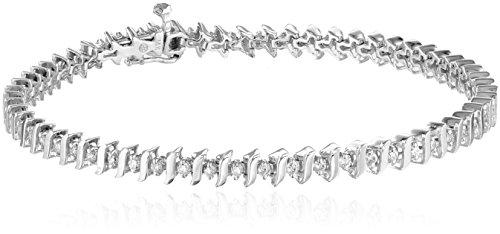 "14k White Gold Diamond S-Link Tennis Bracelet (1 cttw, H-I Color, I1-I2 Clarity), 8"""