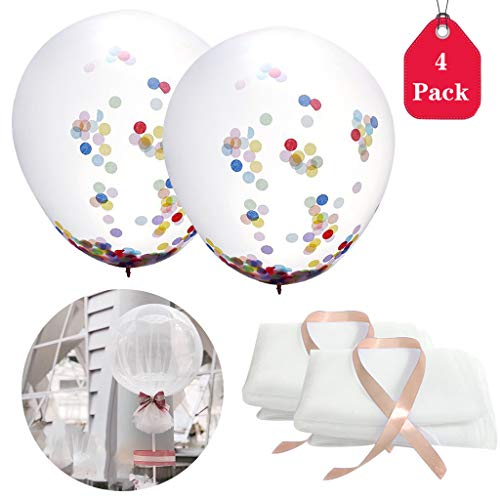 4 PCS 36 Inch Party Confetti Sequin Tulle Balloons, Amycute Latex Balloons with Polka Dot Tutu Tulle Balloons for Baby Shower Birthday Wedding Party Decoration (White) -