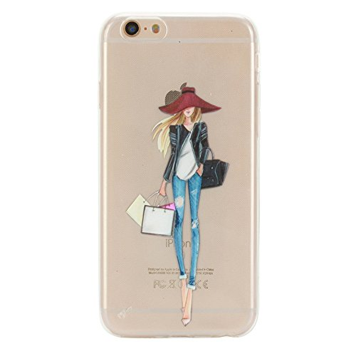 iPhone 6S Clear Case, GreenDimension Fashion Ultra Thin Embossed Printing Girl Pattern Cushion Transparent TPU Rubber Flexible Slim Silicon Skin Soft Protective Back Phone Case for iPhone 6 6S 4.7
