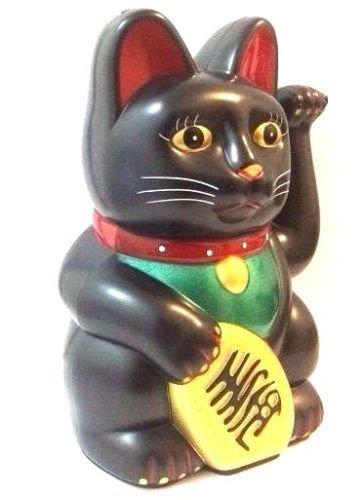 Feng Shui BLACK BECKONING CAT Wealth Lucky Waving Kitty Maneki Neko 6'...