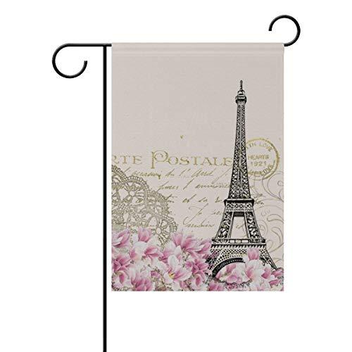 Garden Flag, Eiffel Flower Pink Post Card Double Sided Desig