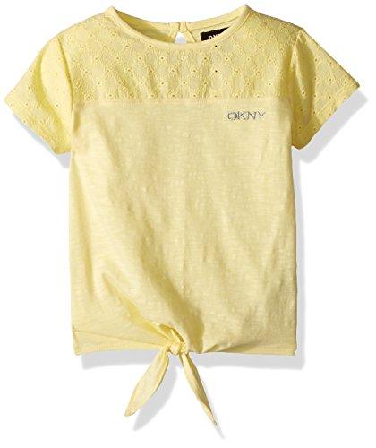 Eyelet Big Shirt - DKNY Big Girls' Short Sleeve T-Shirt, Eyelet Yoke Lemonade, 7