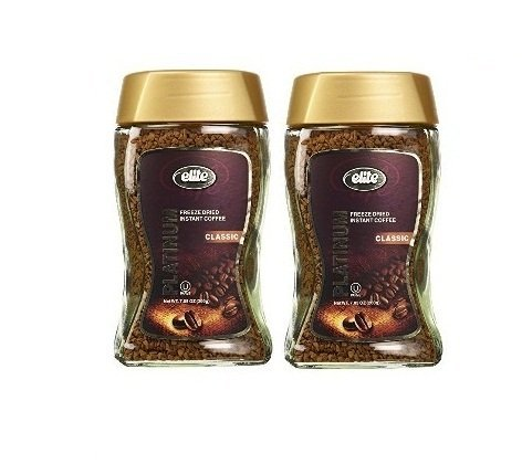 Elite Platinum Freeze Dried Instant Coffee Classic 7.5 oz (Pack of 2) by Elite