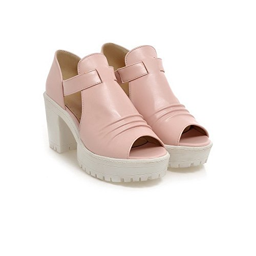 AllhqFashion Womens High Heels Solid Pull on Soft Material Open Toe Heeled-Sandals Pink iQaD5I