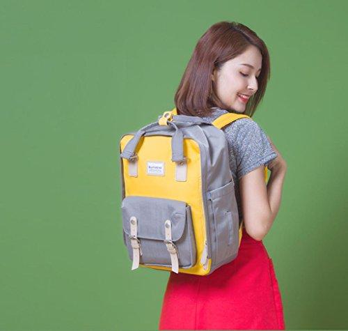 HJXJXJX Bolsa de pañales con cinturón correas cambiador de almohadilla y aislamiento de bolsillo para mamá y papá Wide Open diseñador bebé pañal mochila bolsa de viaje , Orange yellow