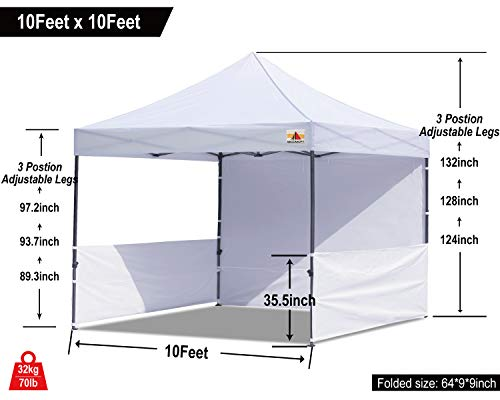 ABCCANOPY 10x10 Rhino-Series Easy Pop Up Canopy Tent Commercial Grade with Matching Sidewalls and Roller Bag Bonus 2 pcs Half Wall (White)