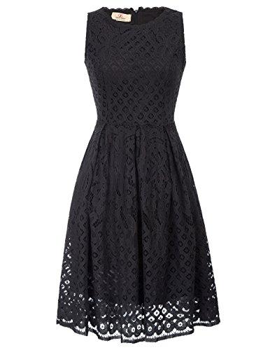 GRACE KARIN Women Crew Neck Sleeveless Wedding Bridesmaid Dress Size M Black ()