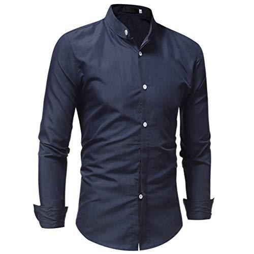 ♚Blusa Hombre Manga Larga,Camisa de Moda Color sólido Puro botón Camisa Casual Masculina Absolute: Amazon.es: Ropa y accesorios