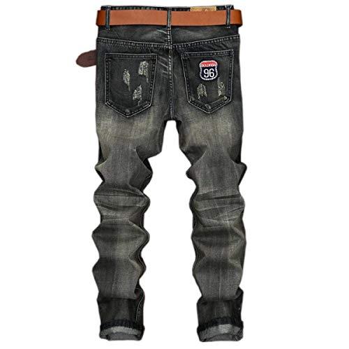 Pantaloni Mode Slim Strappati Fit Vita Marca Casual Senza Grey Cinturino Bassa Stretch Di Uomo Jeans Retro A Da HIq0vv