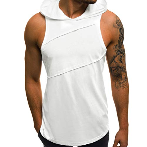 521af95723028 Ankola Men s Workout Hooded Tank Tops Bodybuilding Muscle Cut Off T Shirt  Sleeveless Gym Hoodies White