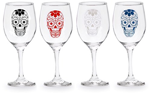 Circleware Sugar Skull Wine Glass Goblets/Assorted