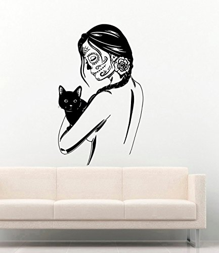 Tattoo Girl Face Vinyl Wall Decals Halloween Woman
