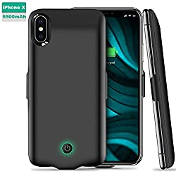 iPhone X Battery Case, ICHECKEY 5500mAh Portable Charger Case Slim Rechargeable Extended Battery Pack Protective Backup Charging Case Cover for Apple iPhone X / iPhone 10 - Black