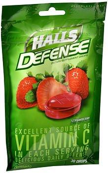 Halls Defense Vitamin C Drops Strawberry - 30 ct, Pack of 5