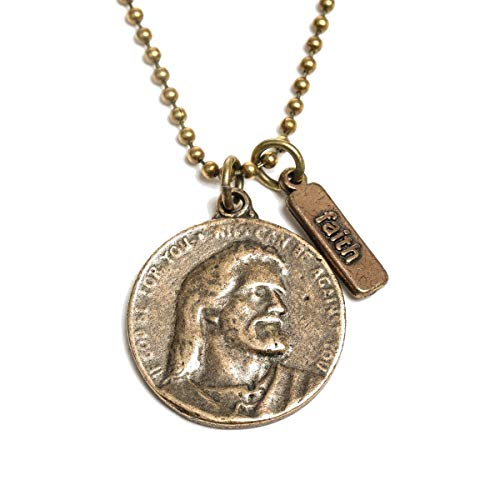 (My Saint My Hero Let Go Let God Vintage Milestone Token Coin Necklace)