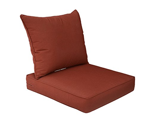 Bossima Sunbrella Indoor/Outdoor Canvas Henna/Red Deep Seat Chair Cushion Set,Spring/Summer Seasonal Replacement Cushions. (Red Sunbrella)