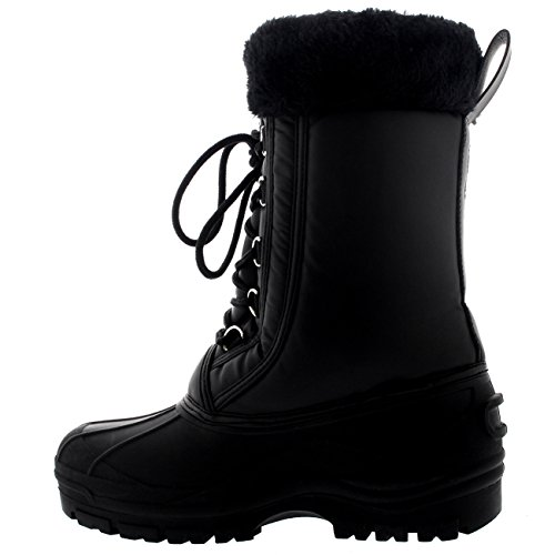 Polarr Polar Damen Muck Pelz Manschette Schnüren Wasserdicht Ente Schnee Winter Regen Schwarz Mitte Wade Stiefel Schwarz Leder