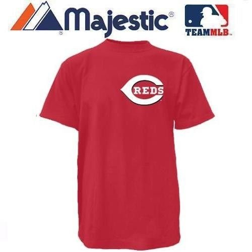 New YOUTH size Med MLB Cincinnati REDS Majestic T-Shirt Tee Jersey Crewneck Replica Major League Baseball Wood Mark