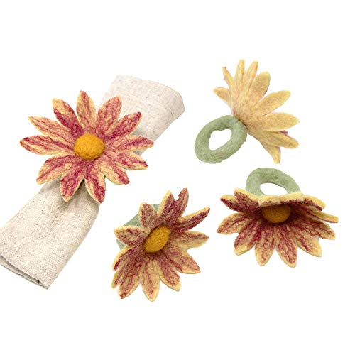 Global Groove Daisy Napkin Rings - Set of Four Magenta (T)