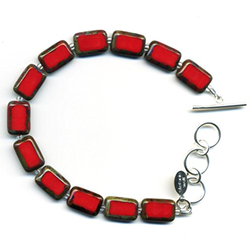 Beaded Bracelet in Red, Colorful Glass Tiles, Sterling Silver Adjustable Length Toggle Clasp, One Size Fits Most Glass Beaded Toggle