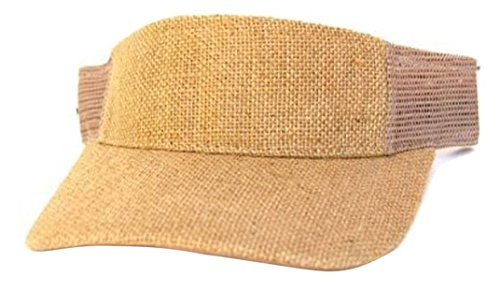 MM Collections Burlap Summer Sun Visor Hat Cap, Khaki Mesh