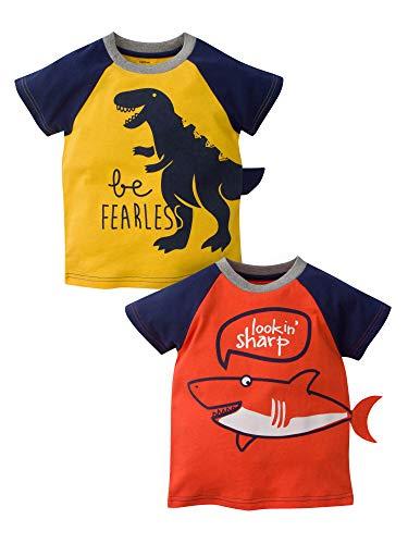 Gerber Graduates Boys' Toddler 2 Pack Tops, Fearless and Shark, 4T