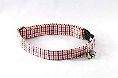Preppy Navy and Orange Auburn University Gingham Kitty Cat - Bow Uva Tie
