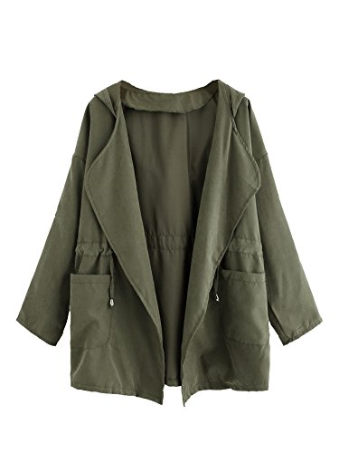 Floerns Women's Casual Hooded Lapel Thin Coat Drawstring Waist Hooded Jacket Outwear Tops Dual Pocket Green S