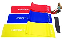 Long Fitness Bands (5 Ft) w/Door Anchor - URBNFit - 3 Pack of Resistance Bands for Stretching, Workouts, Rehabilitation. Professional Grade Flat Stretch Bands Are Essential For Every Home Gym