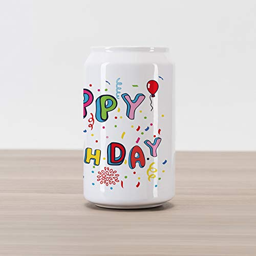 (Ambesonne Birthday Cola Can Shape Piggy Bank, Rainbow Colored Cute Letters Greeting Crown Flower Petals Stars and Dots Print, Ceramic Cola Shaped Coin Box Money Bank for Cash Saving, Multicolor)