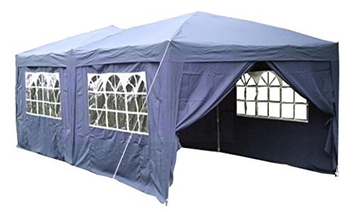 Airwave 6 x 3m Fully Waterproof Pop Up Gazebo with Six Side Panels and Carrybag -  Blue