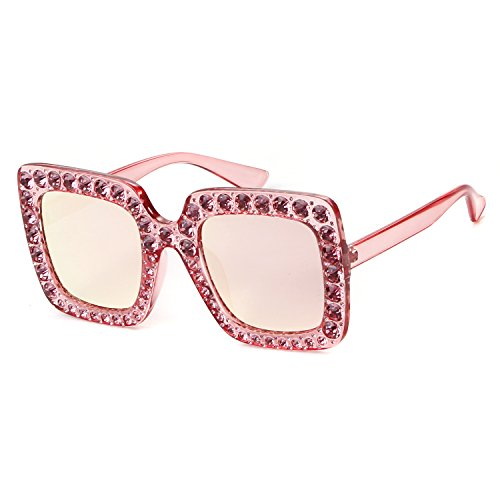 Crystal Rim Women Sunglasses Retro Brand Desginer Square Oversize Sun Glasses (pink, - Square Glasses Pink