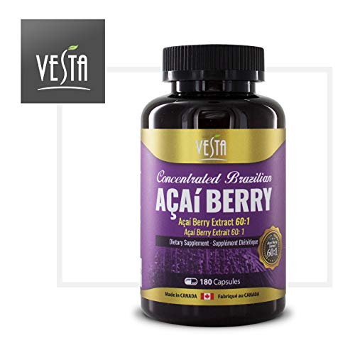 Brazilian Acai Berry 60:1 Extract 180 Capsules, 500mg, Antioxidant, Weight Loss, Detox, Manufactured in Canada ()