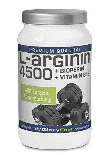 L-Arginin Kapseln 4500 - Hochdosiert und Rein - 3.652 mg Arginin pro Tagesdosis + Bioperin / Piperin + Vitamin B12 pro Tagesdosis (4 Kapseln) - 600 Kapseln - Premiumqualität Deutscher Herstellung